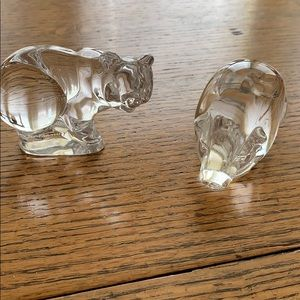 Set of (2) Glass Pigs